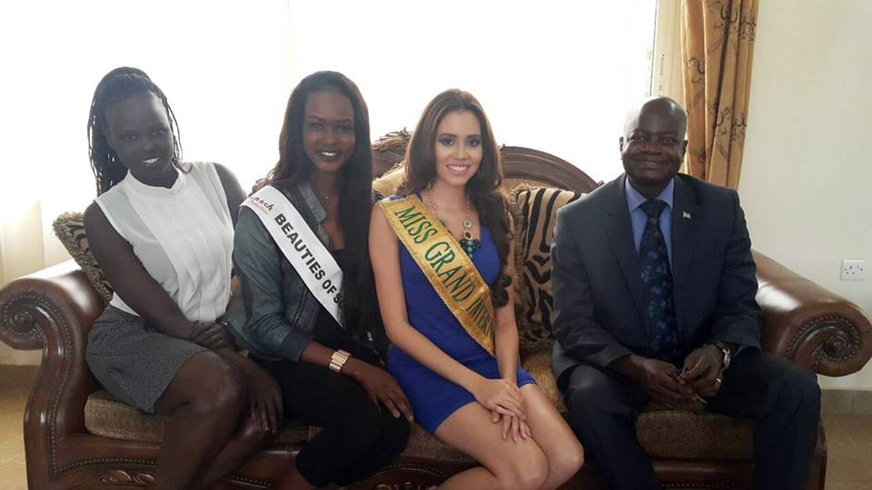 (L-R) South Sudan Ambassador  for Culture, Atong Demach, Beauties of South Sudan, Siran Samuel, Mach, Miss Grand Universe, Daryanne Lees Garcia and Minister of Environment , Deng Deng Yai at JIA VIP Lounge