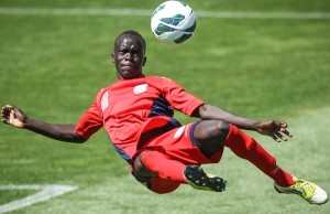 ADELAIDE, AUSTRALIA - NOVEMBER 17: Awer Mabil of Adelaide strikes at goal during the round five Youth League match between Adelaide United and Melbourne Heart at Hindmarsh Stadium on November 17, 2012 in Adelaide, Australia.  (Photo by Morne de Klerk/Getty Images)