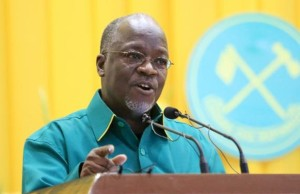 John Magufuli addresses delegates after the ruling party Chama Cha Mapinduzi (CCM) elected him as the presidential candidate for the October 25 election in the capital Dodoma, July 12, 2015. REUTERS/Stringer