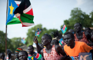 South Sudanese celebrating