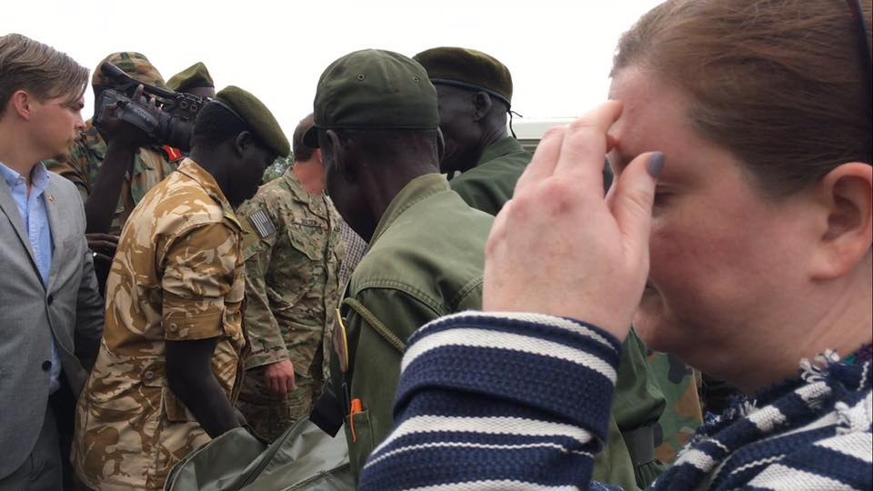 Body of Christopher Allen being handed over to US embassy officials at Juba Military Hospital this morning.
