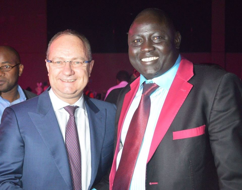 Lawrence Lual with Mark Cutifani, the CEO of Anglo American Gold and Diamond Mining Companies