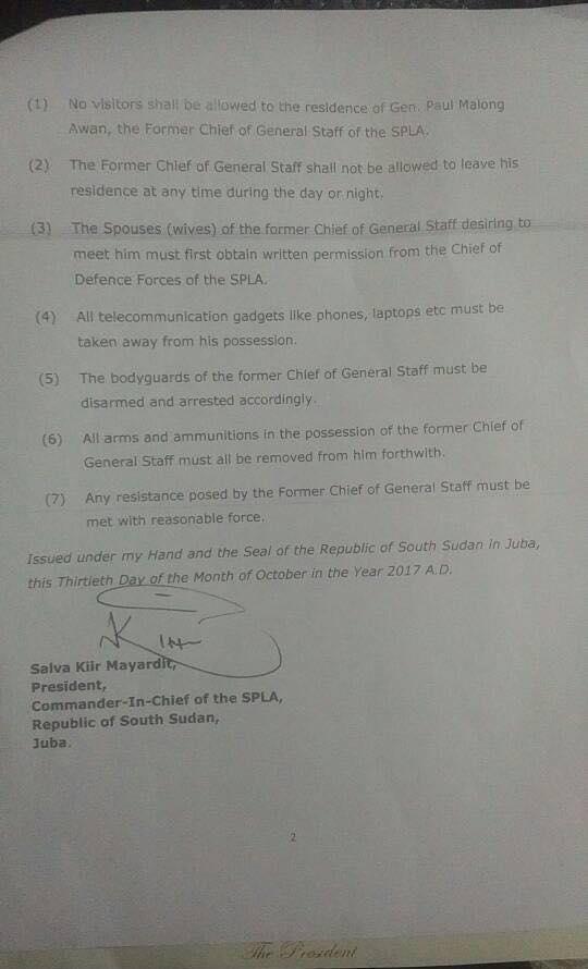 Kiir orders Malong Awan