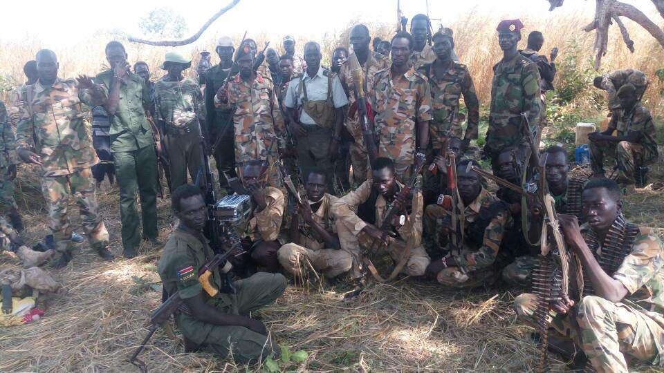 Lt. Col. Chan Garang with his soldiers in undisclosed place.