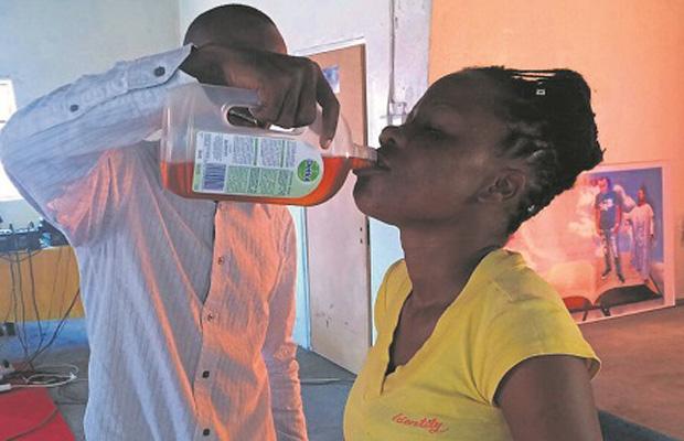 Pastor makes his church members drink Dettol