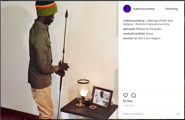 Mabior Garang praying to his late father John Garang as his God.