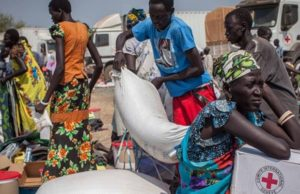 Aid distribution in South Sudan
