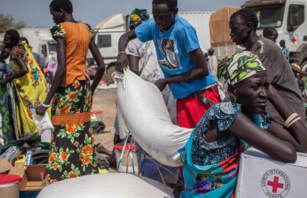 Aid distribution in South Sudan