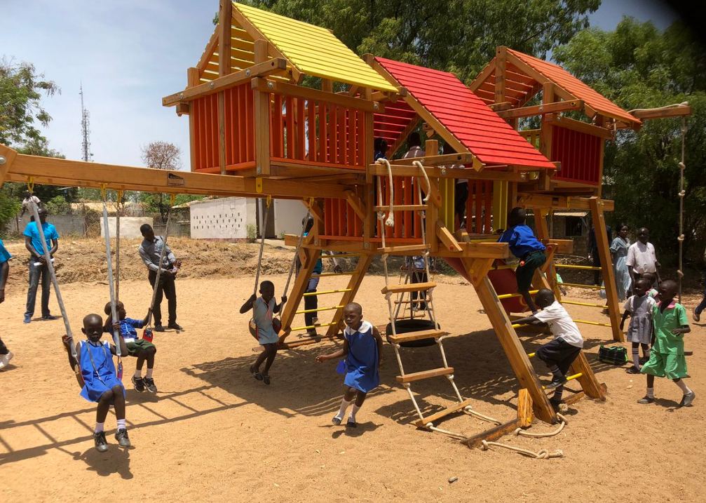 Hollywood actor launches first children's playground in S. Sudan