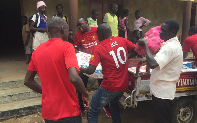Liverpool fans in Juba donate food items to orphanage to celebrate Liverpool's victory [PHOTOS]