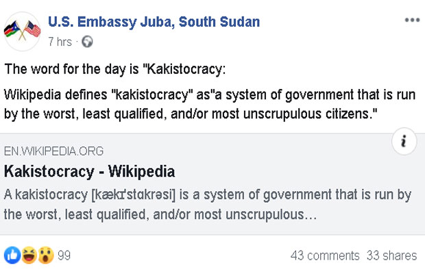 Is US embassy throwing shades at Government?