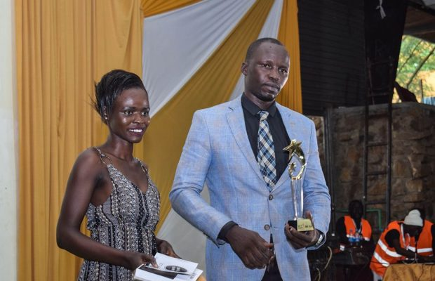Sout Al Salaam Award winner for best film Charles Lomidong accepting his award on stage