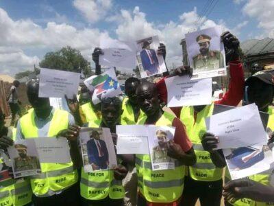 Boda boda riders demonstrating in Juba