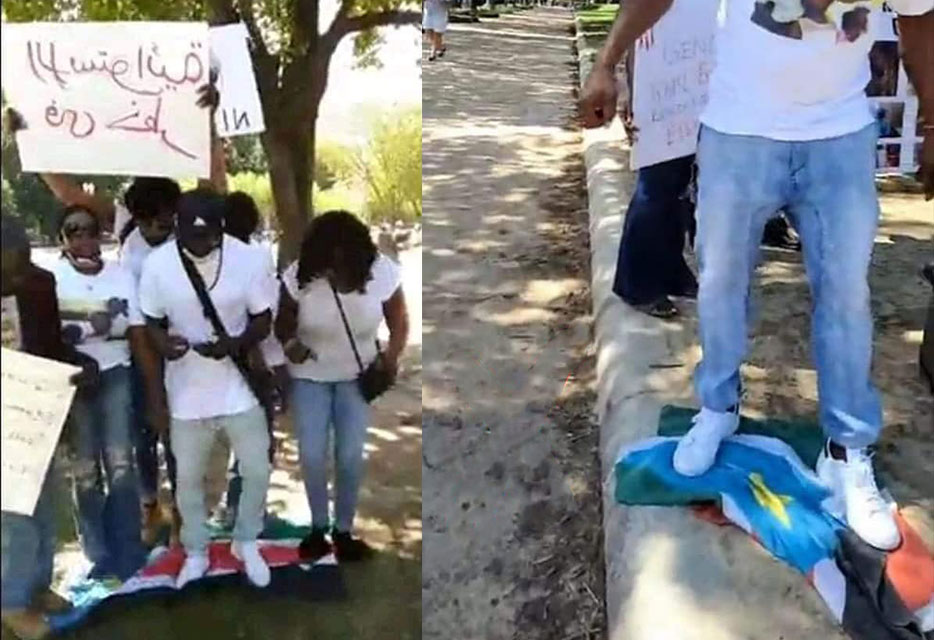 Stepping on South Sudan flag by protestors sparks outrage on Social Media