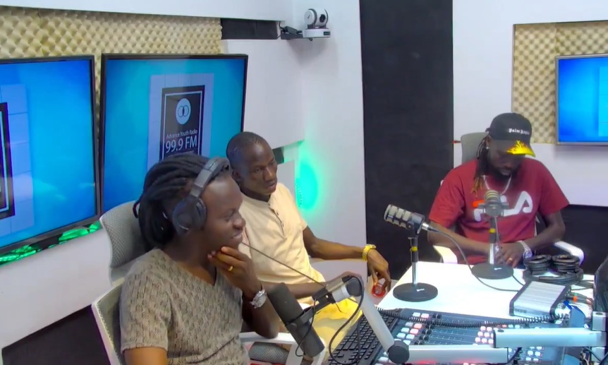 Silver, Okot (hacker) and presenter Sambro while appearing on Advance Youth Radio Tuesday evening